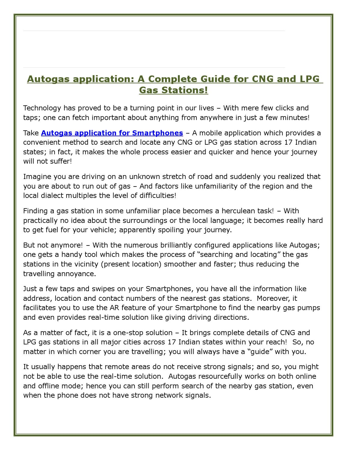 Give Me Directions To The Nearest Gas Station >> Autogas Application A Complete Guide For Cng And Lpg Gas
