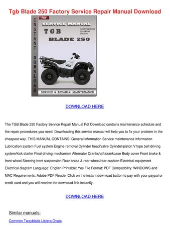 tgb blade 250 factory service repair manual