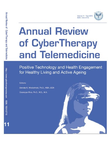 Annual Review Of Cybertherapy And Telemedicine Volume 11 Summer
