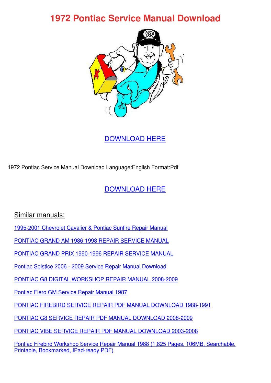 1972 Pontiac Service Manual Download by JudyHay - issuu