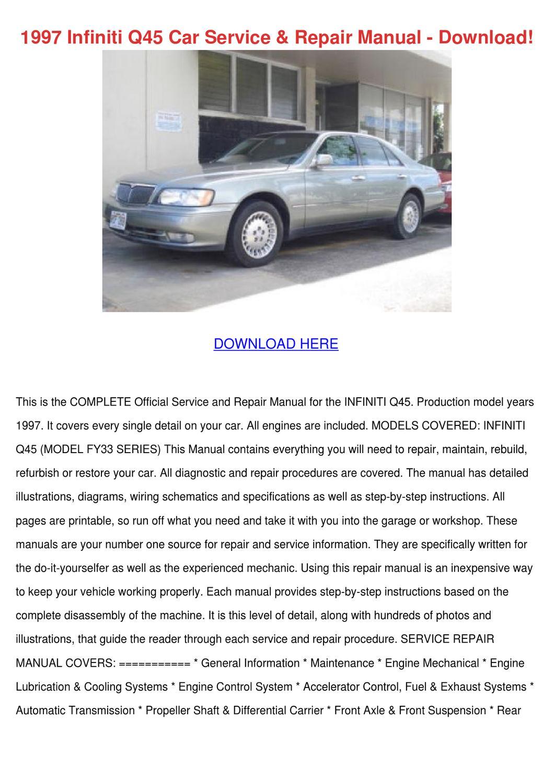1997 Infiniti Q45 Car Service Repair Manual D by JudyHay ...
