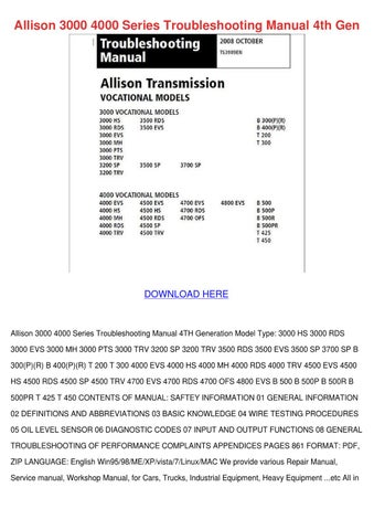 Allison 4700 Ofs manual