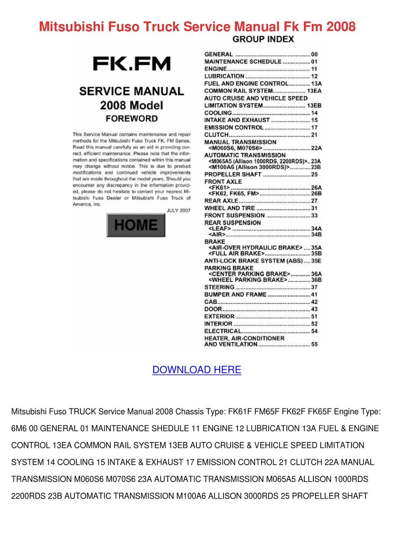 Mitsubishi Fuso Truck Service Manual Fk Fm 20 by SeanPackard - issuu