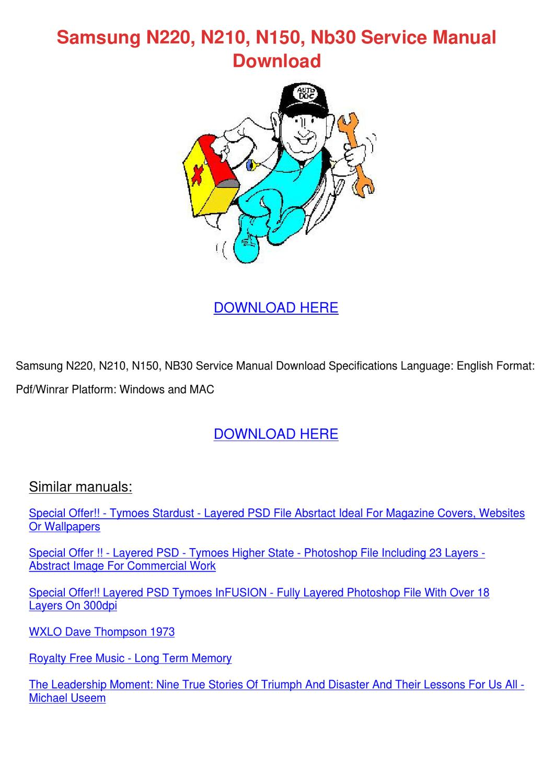 Samsung N220 N210 N150 Nb30 Service Manual Do By border=