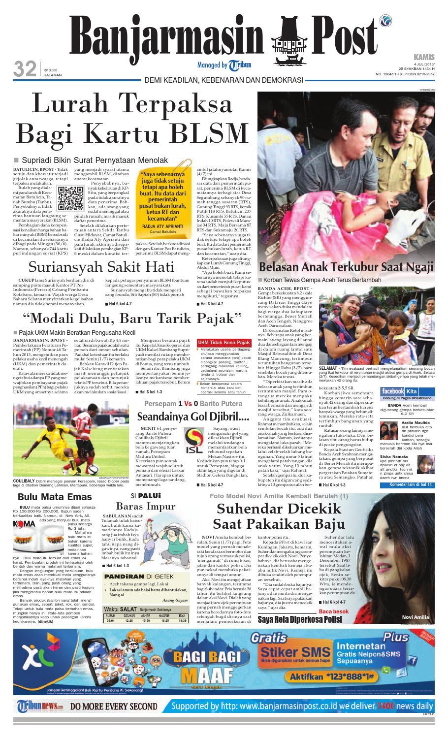 Banjarmasin Post Edisi Kamis 4 Juli 2013 By Issuu Fcenter Lemari Pakaian Wd Hk 1802 Sh Jawa Tengah