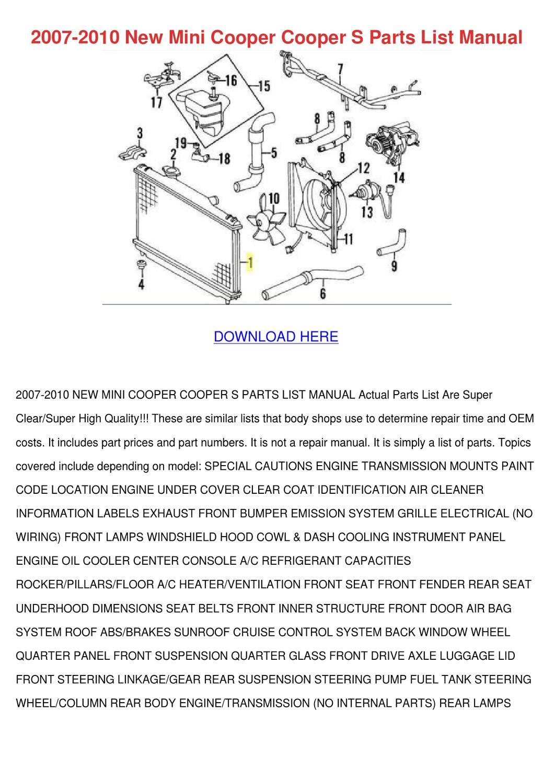 2007 2010 New Mini Cooper Cooper S Parts List by KrystalJameson ...