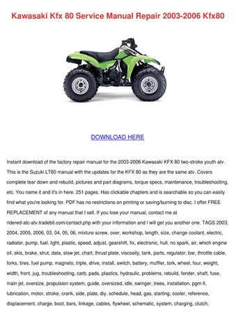 kawasaki kfx 80 service manual repair 2003 20 by elsiecress issuu rh issuu com 2004 Kfx 80 kawasaki kfx 80 service manual