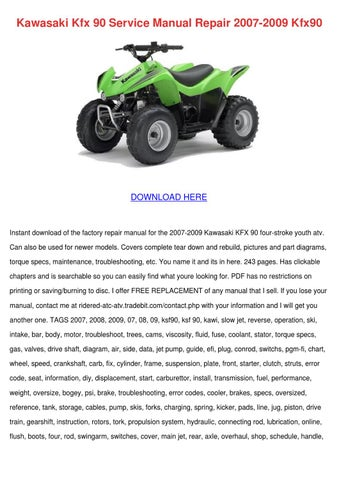 kawasaki kfx 90 service manual repair 2007 20 by elsiecress issuu rh issuu com 2005 KFX 80 2005 KFX 80