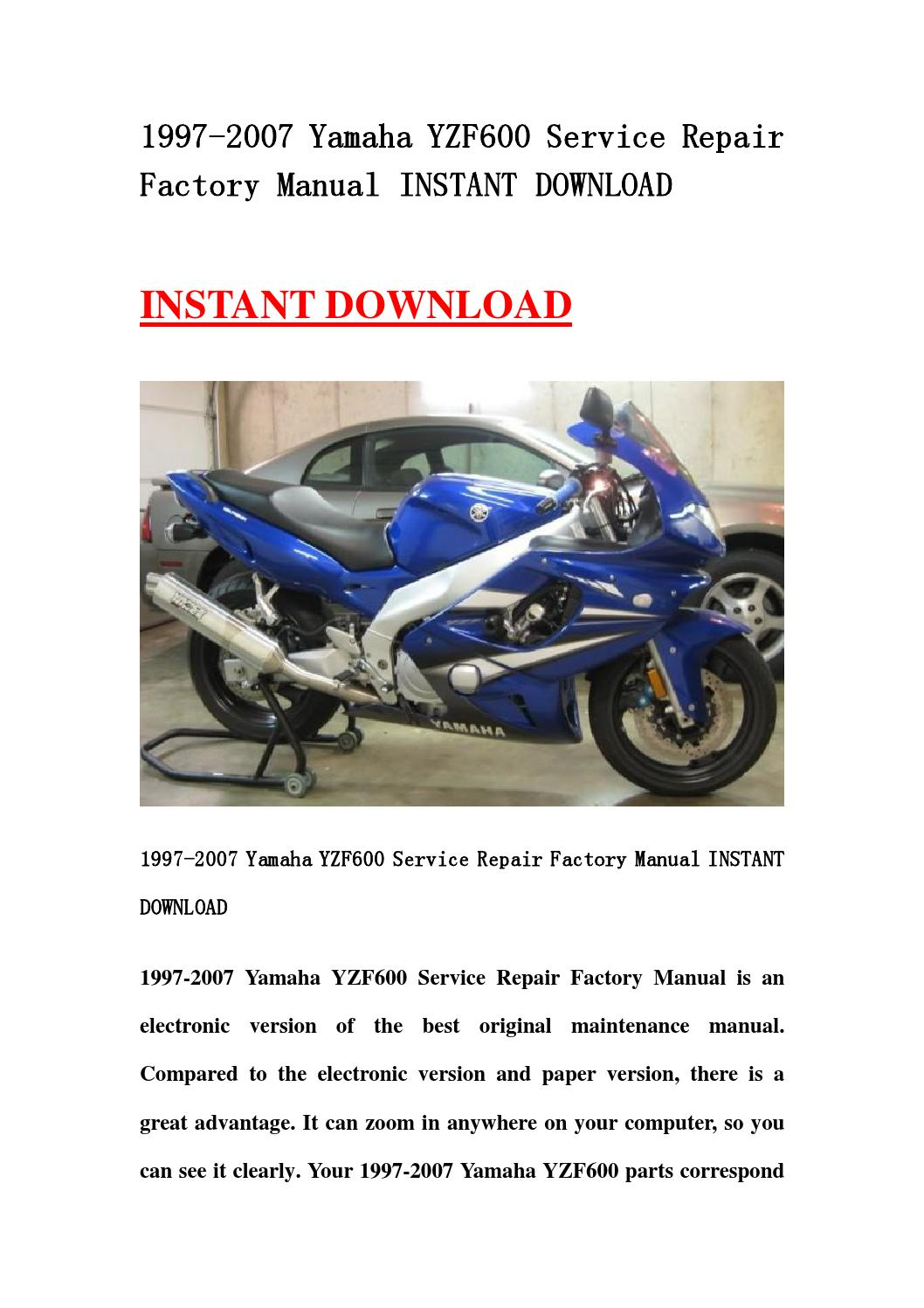 1997 2007 yamaha yzf600 service repair factory manual. Black Bedroom Furniture Sets. Home Design Ideas