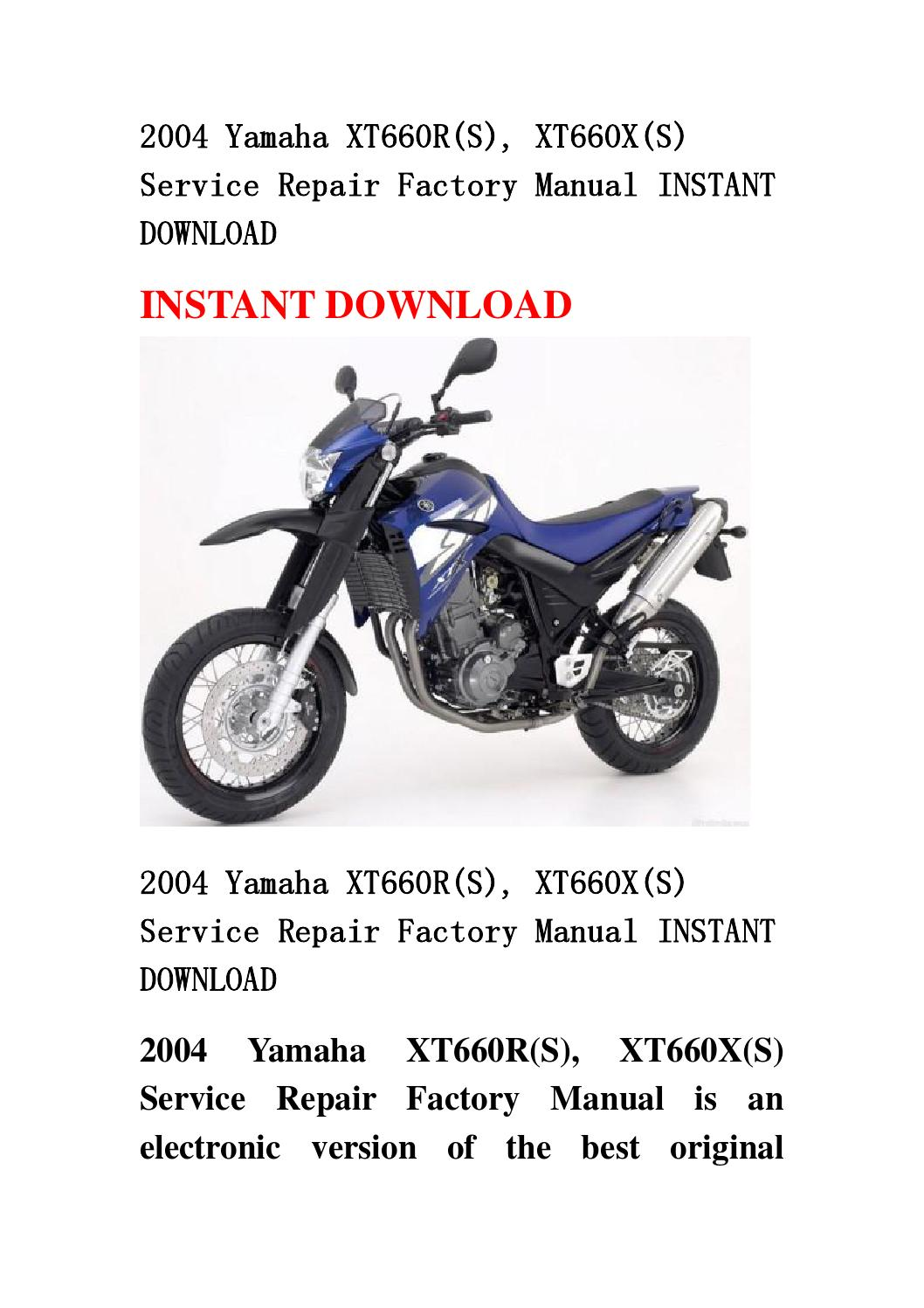 2004 yamaha xt660r s xt660x s service repair factory. Black Bedroom Furniture Sets. Home Design Ideas