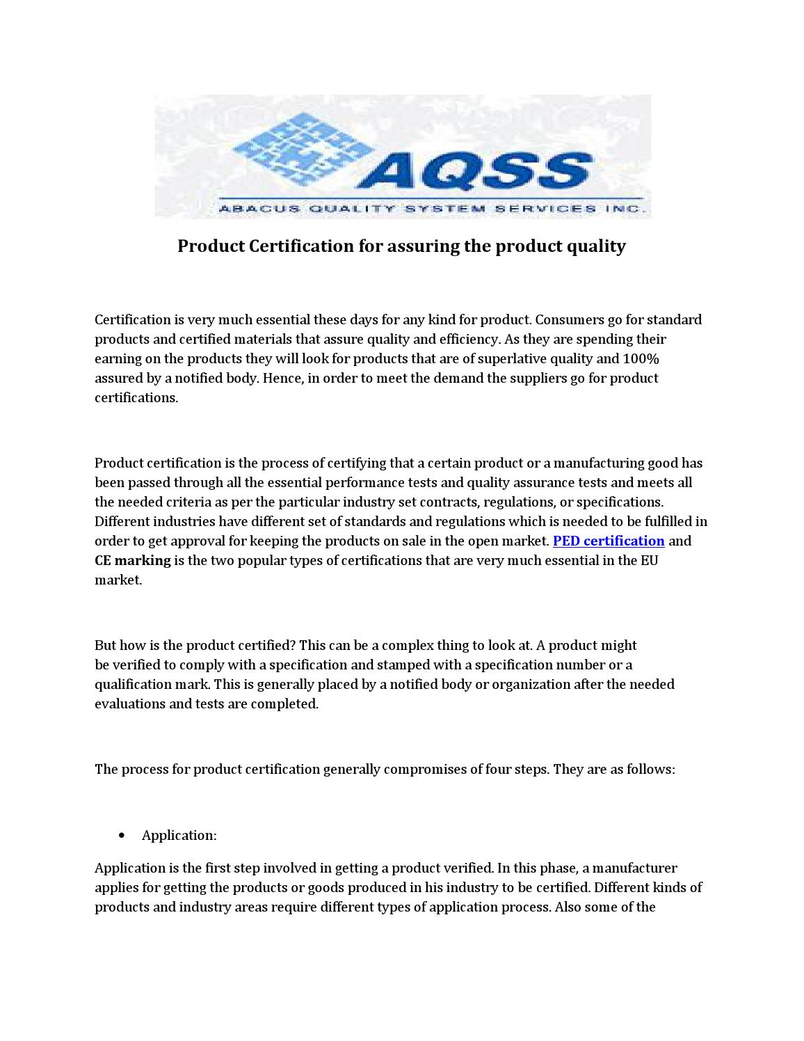 Product Certification For Assuring The Product Quality By Safi Qudsi