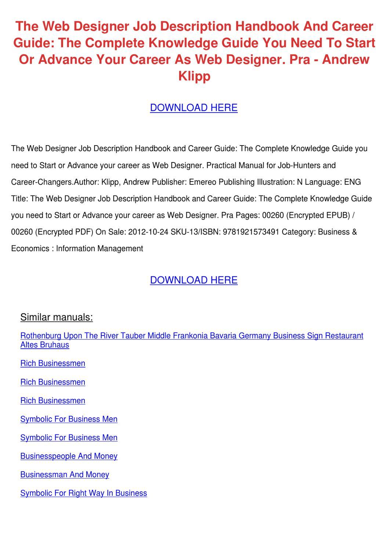 The Web Designer Job Description Handbook And By Aishawatters Issuu