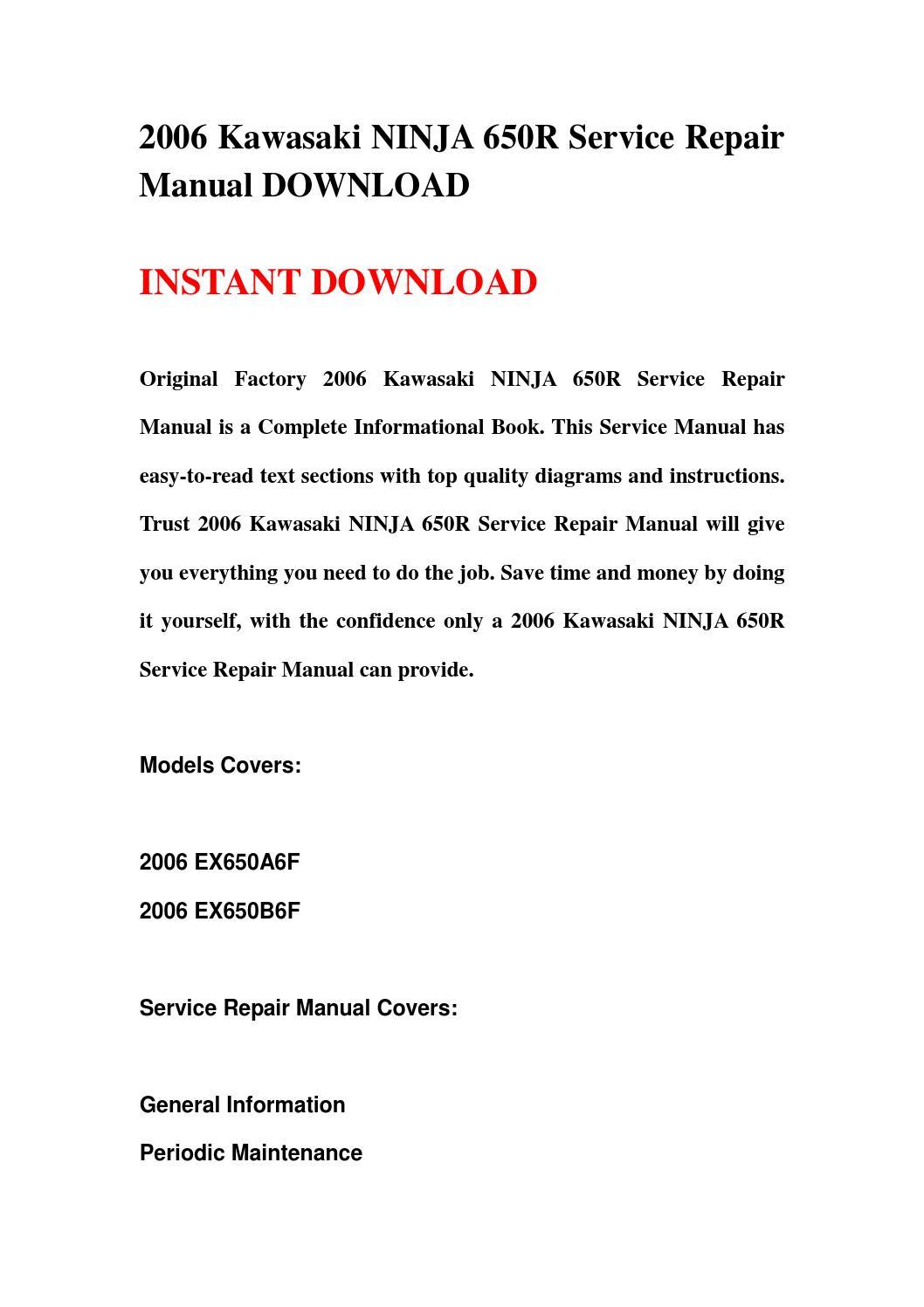 2006 Kawasaki Ninja 650r Service Repair Manual Download By Hsgefbhe