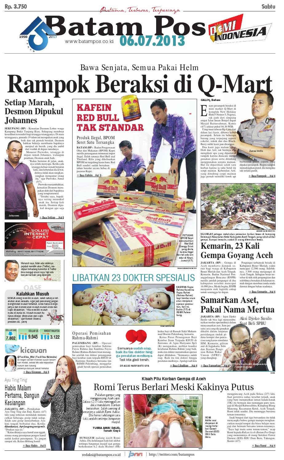 6 Juli 2013 By Batampos Newspaper Issuu Produk Ukm Bumn Brasso Metal Polish 200 Ml