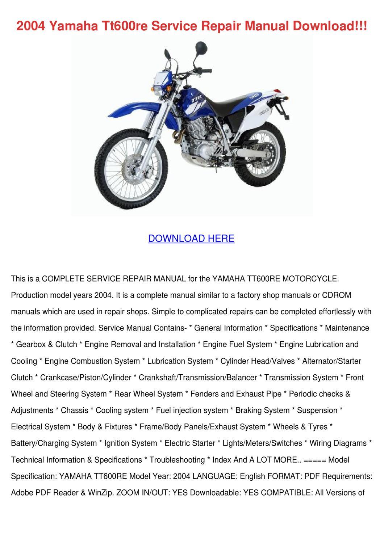 2004 Yamaha Tt600re Service Repair Manual Dow By