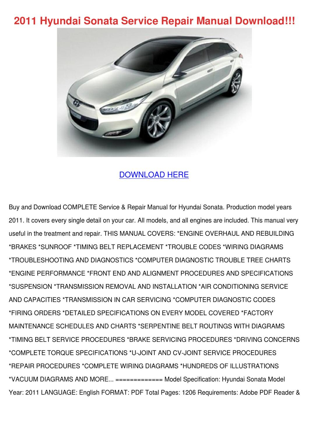 2011 Hyundai Sonata Service Repair Manual Dow By Elwooddalton Issuu Wiring Diagram Of Santro