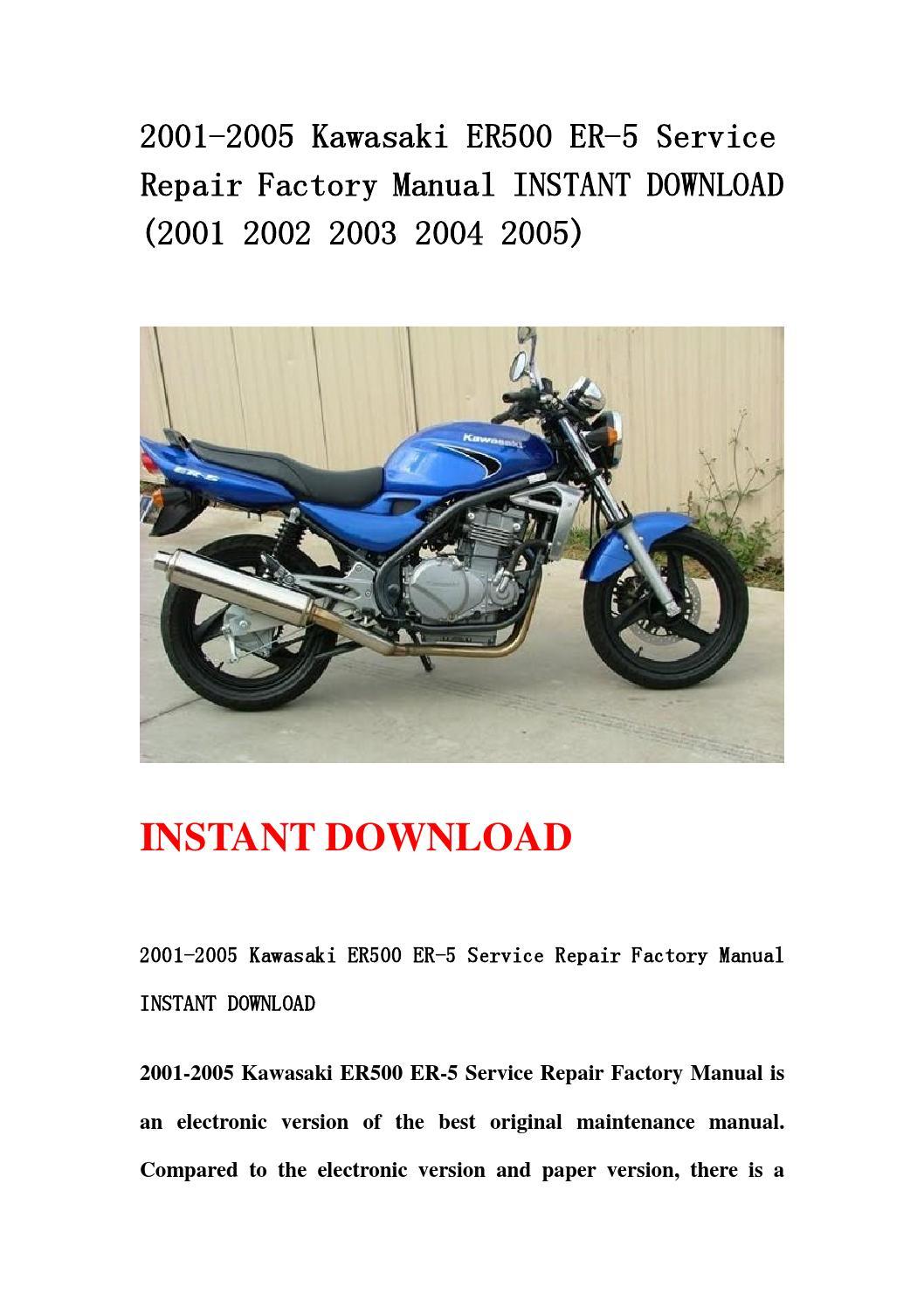 2001 2005 Kawasaki Er500 Er 5 Service Repair Factory