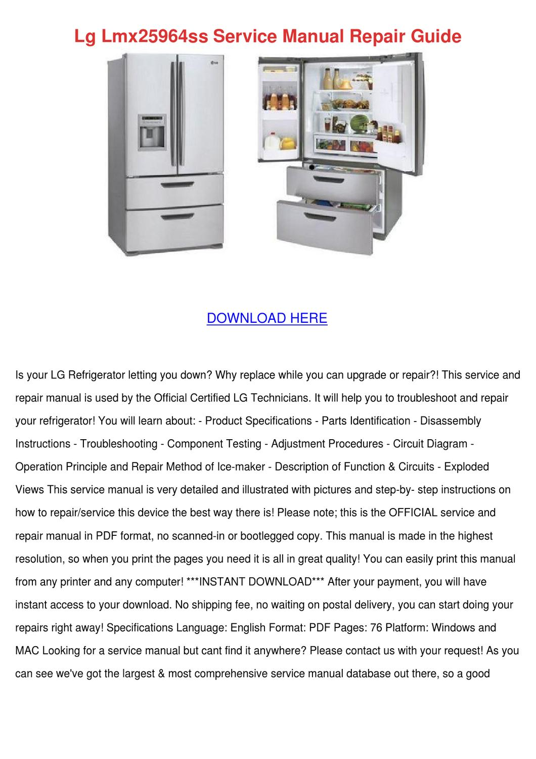 Lg Lmx25964ss Service Manual Repair Guide by LouiseLindquist - issuu