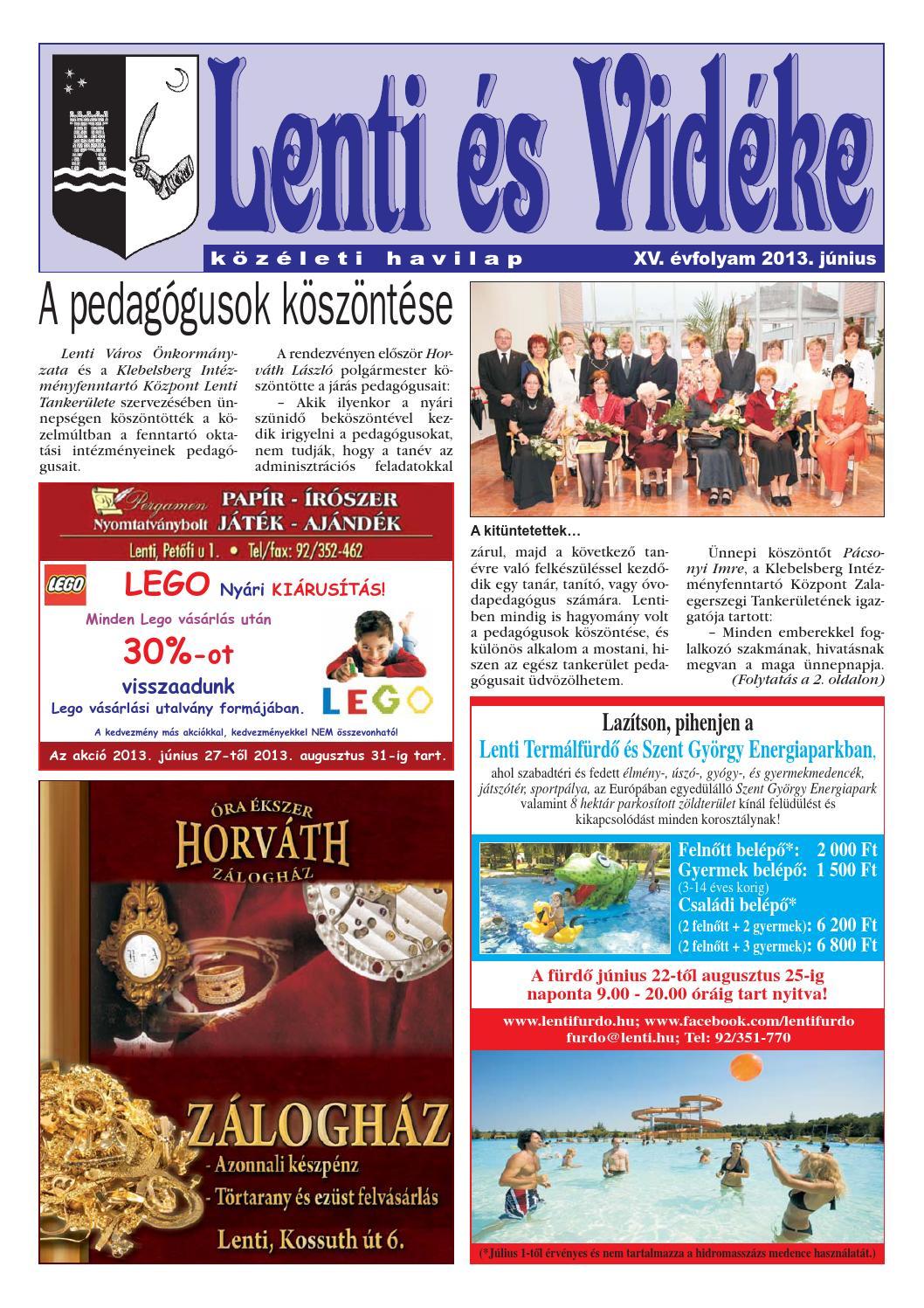 Lenti és Vidéke 2013. június by zalataj kiado - issuu 53f7b45721
