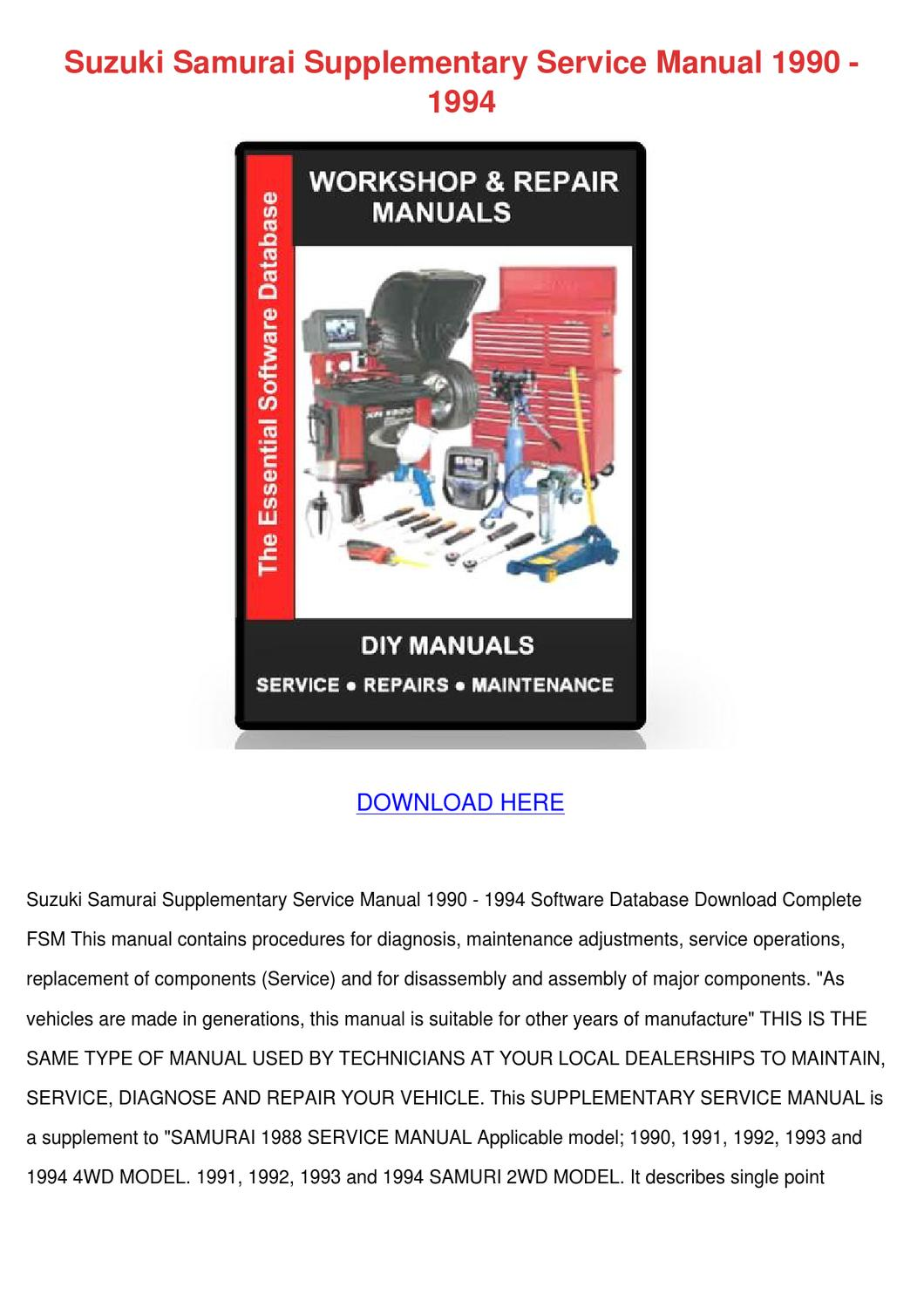 Suzuki Samurai Supplementary Service Manual 1 by GretchenFitzpatrick - issuu