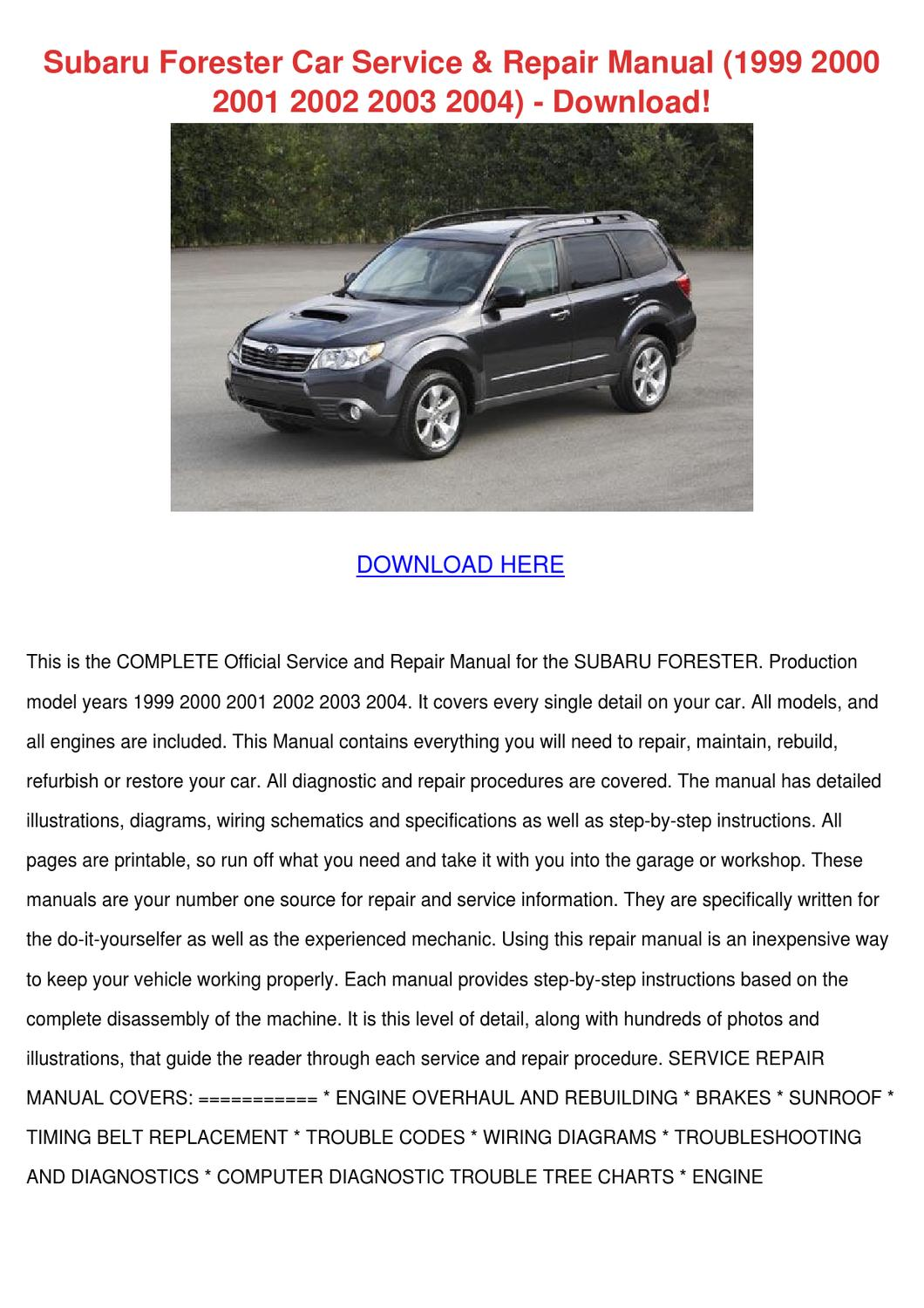 Subaru Forester Car Service Repair Manual 199