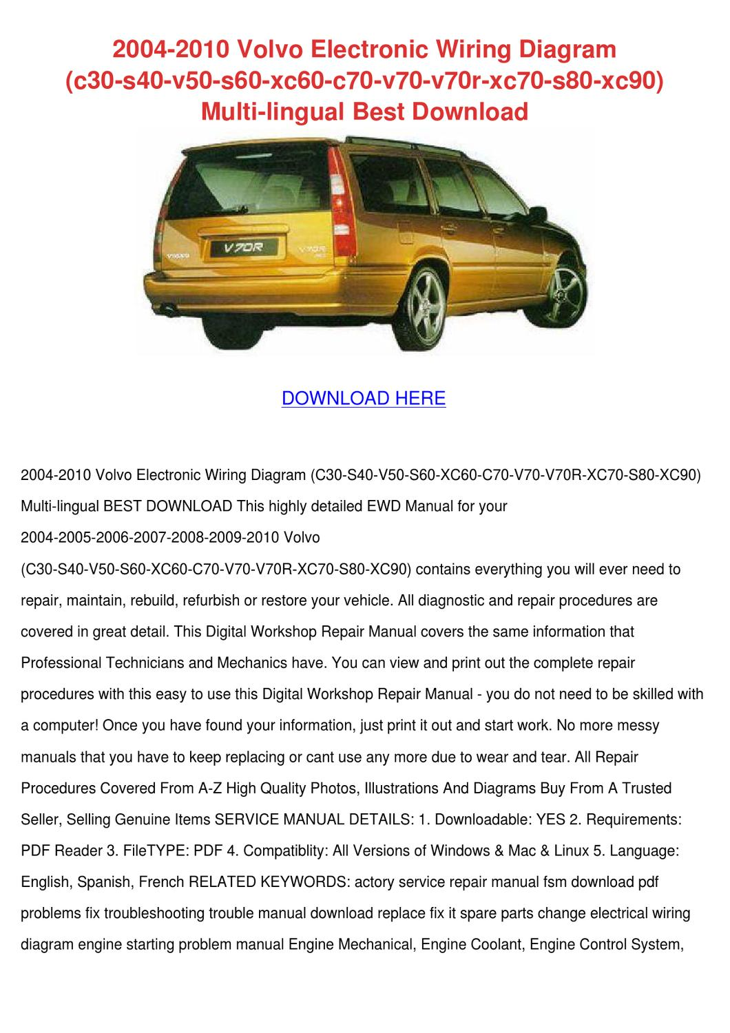 2004 2010 Volvo Electronic Wiring Diagram C30 By Kelleyhurt Issuu Xc90 Engine