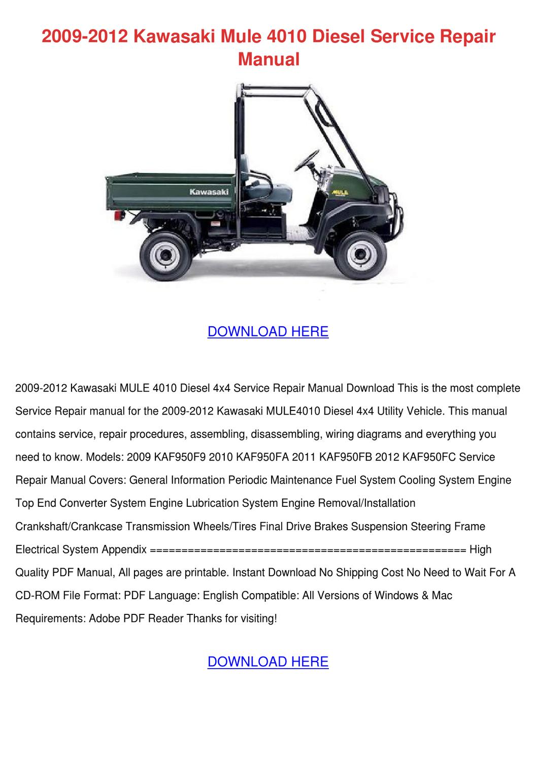 2009 2012 Kawasaki Mule 4010 sel Service R by ... Kawasaki Mule Wiring Diagram on