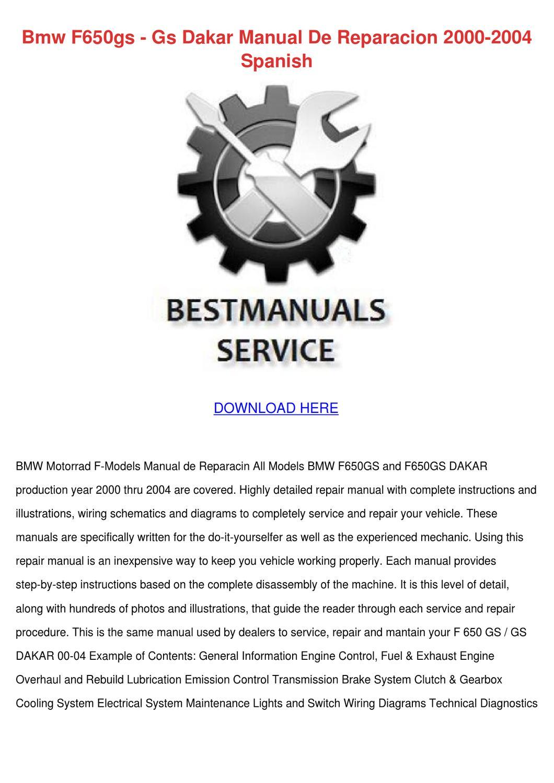 Bmw F650gs Gs Dakar Manual De Reparacion 2000 by ... on