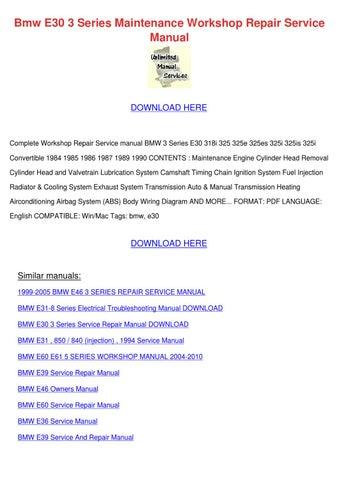 bmw e30 3 series maintenance workshop repair