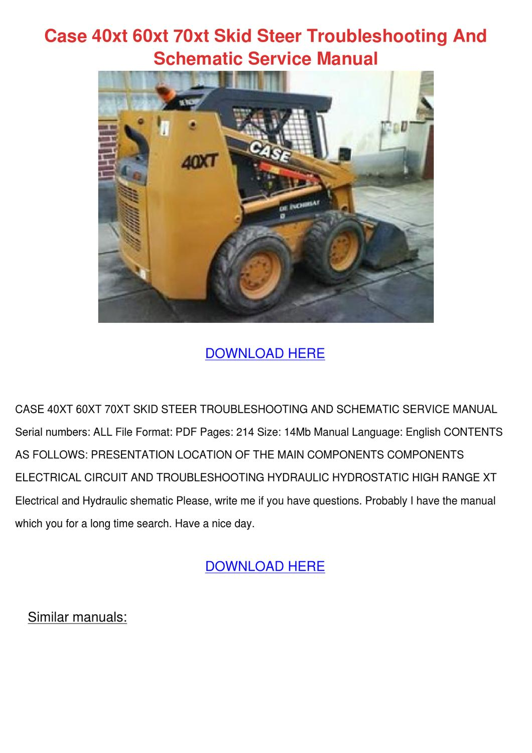 case 40xt 60xt 70xt skid steer troubleshootin by