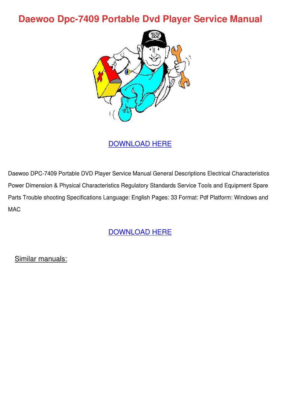 Daewoo Dpc 7409 Portable Dvd Player Service M By