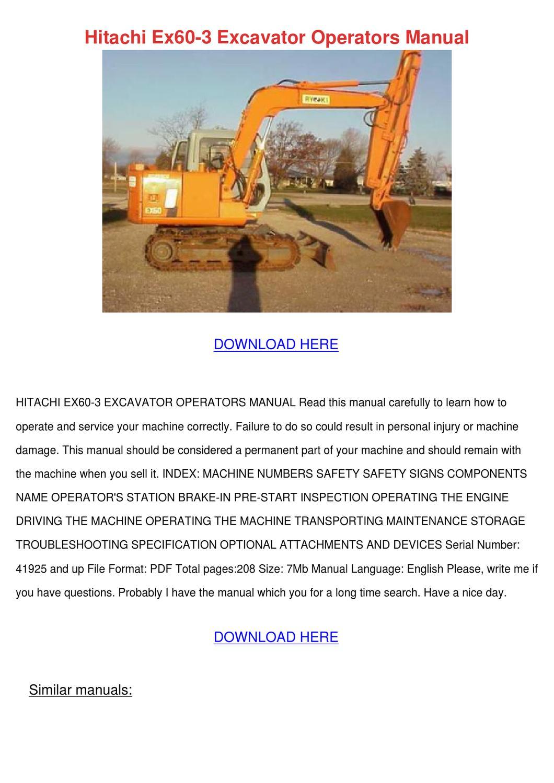 Hitachi Ex60 3 Excavator Operators Manual by EugeniaDeyoung - issuu