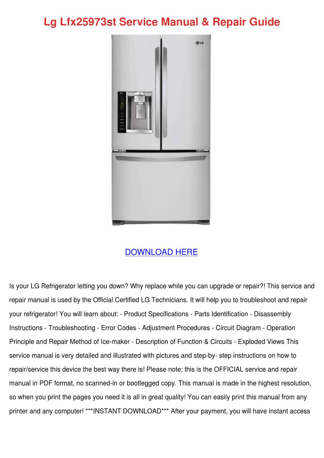 Lg Lfx25973st Service Manual Repair Guide By Eugeniadeyoung Issuu Refrigerator Electrical Wiring Diagram Pdf