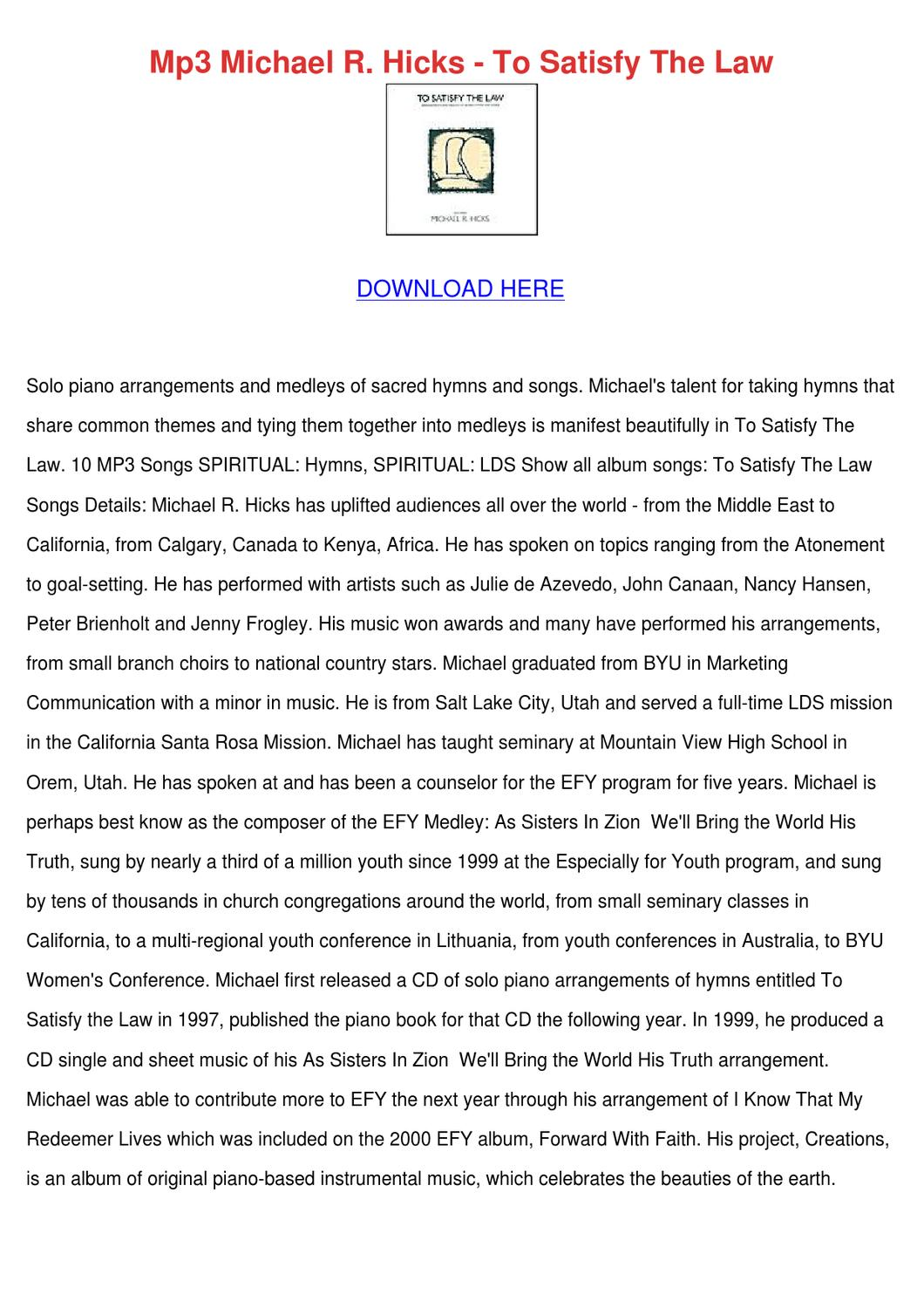 Mp3 Michael R Hicks To Satisfy The Law by BradleyBaylor - issuu