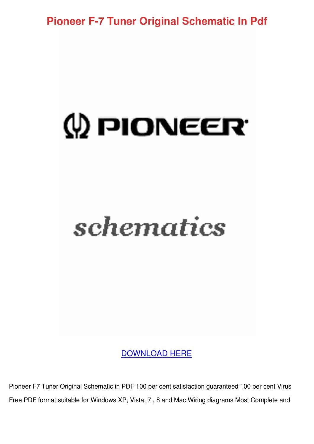 Pioneer F 7 Tuner Original Schematic In Pdf By Taylorslocum Issuu Download The Format