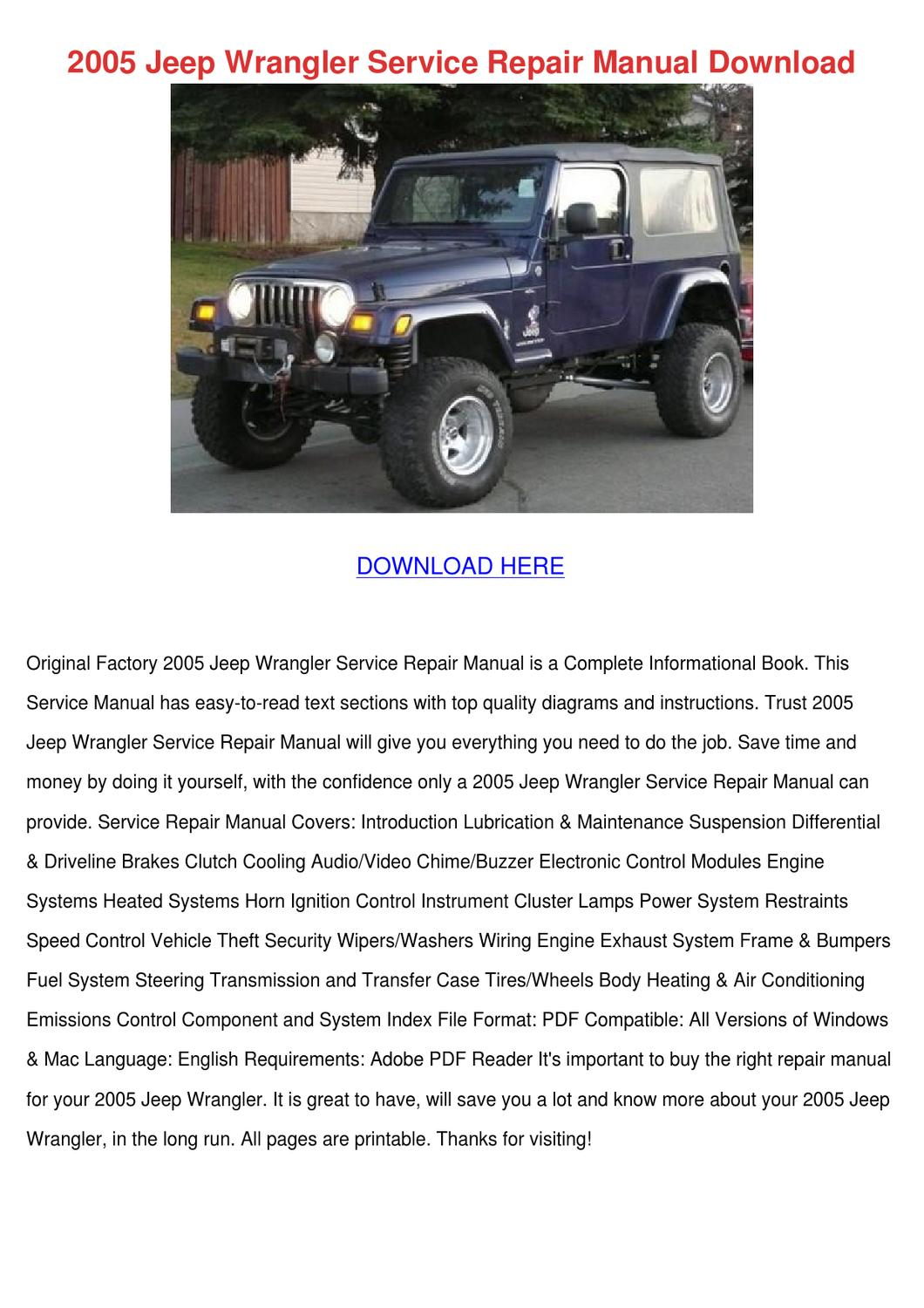 2005 Jeep Wrangler Service Repair Manual Down By
