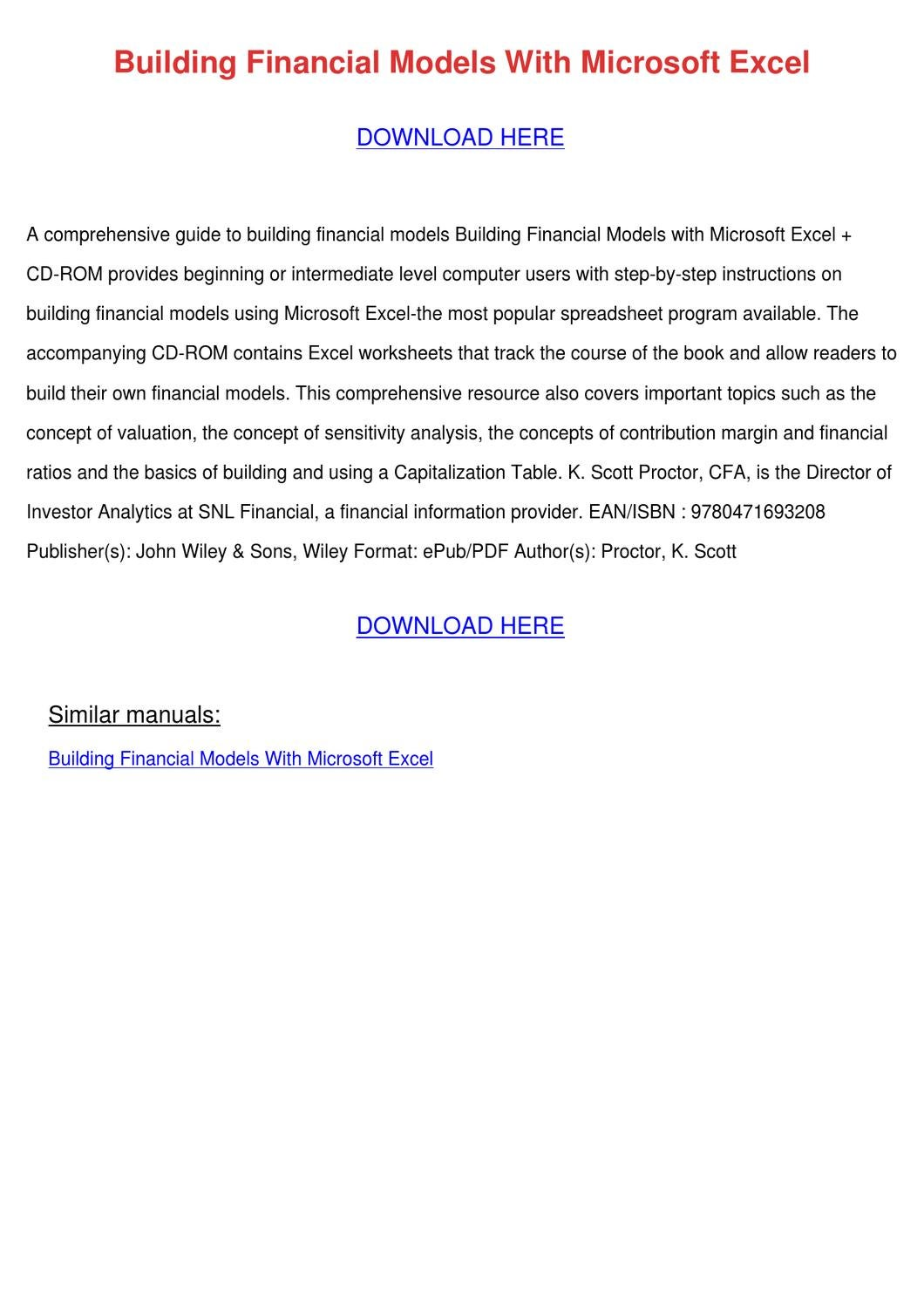 building financial models with microsoft exce by