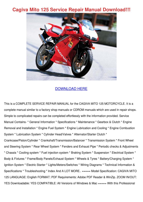 Cagiva Mito 125 Service Repair Manual Downloa By