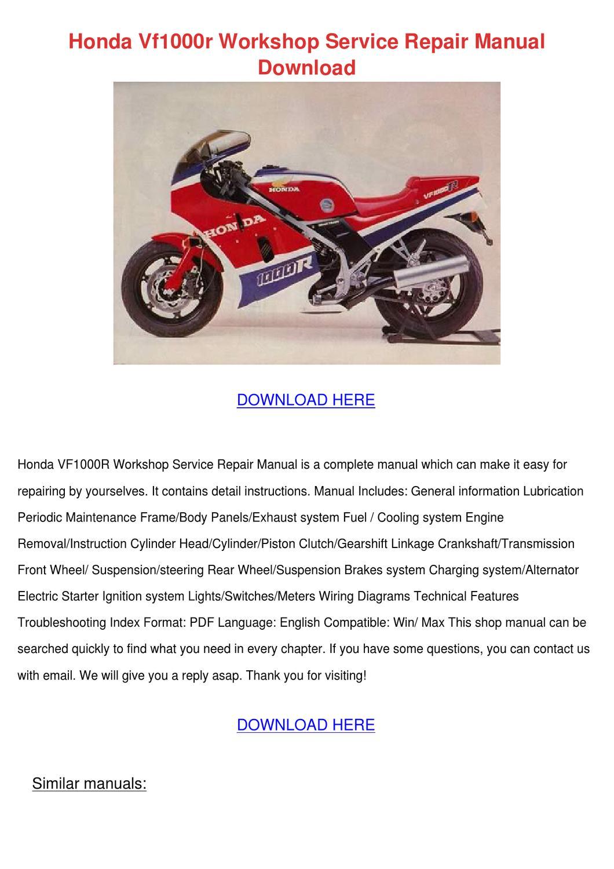 Honda Vf1000r Workshop Service Repair Manual by GertieFarias - issuu