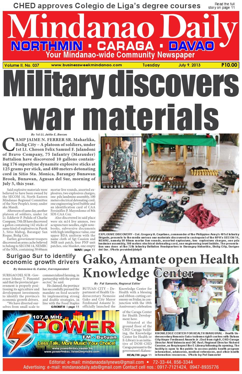 Mindanao Daily Caraga (July 9, 2013) by Mindanao Daily News