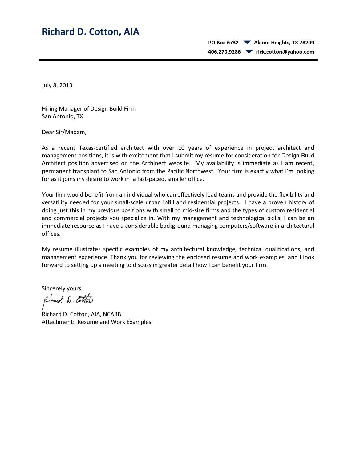 cover letter resume examples richard cotton by rick cotton