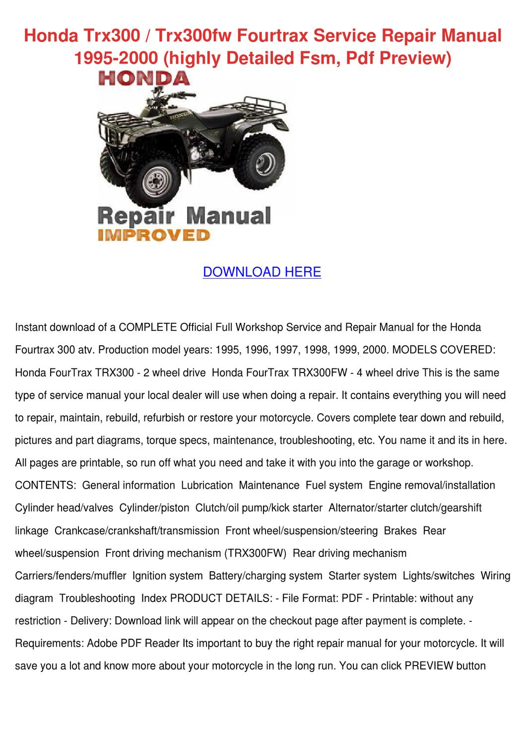 Honda Trx300 Trx300fw Fourtrax Service Repair By Juliusheim Issuu 2 4 Engine Diagram