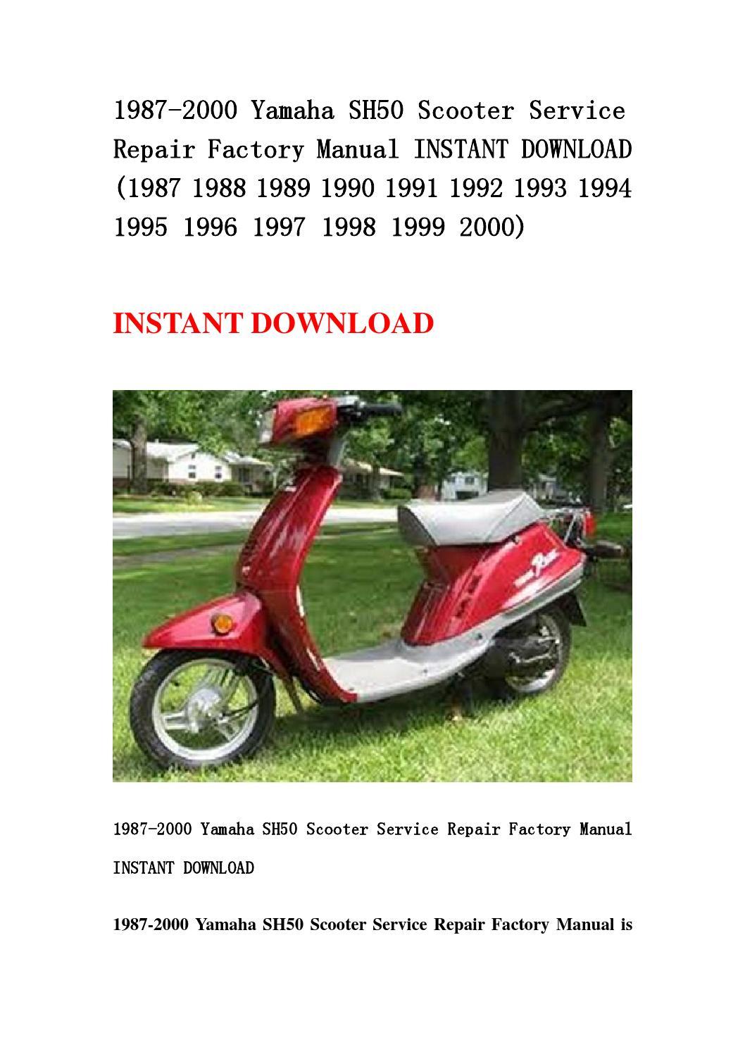 1987 2000 Yamaha Sh50 Scooter Service Repair Factory
