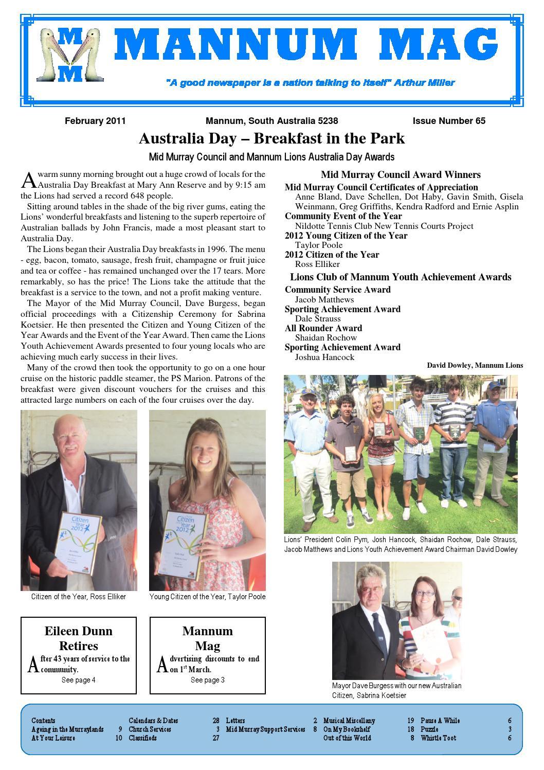 Mannum Mag Issue 65 February 2012 By Mannum Community