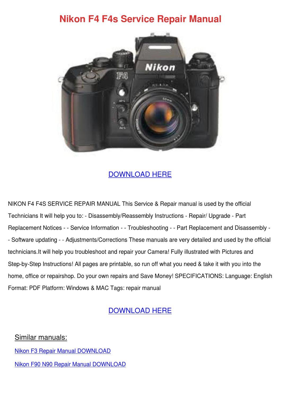 Nikon F4 F4s Service Repair Manual By Jonashargis