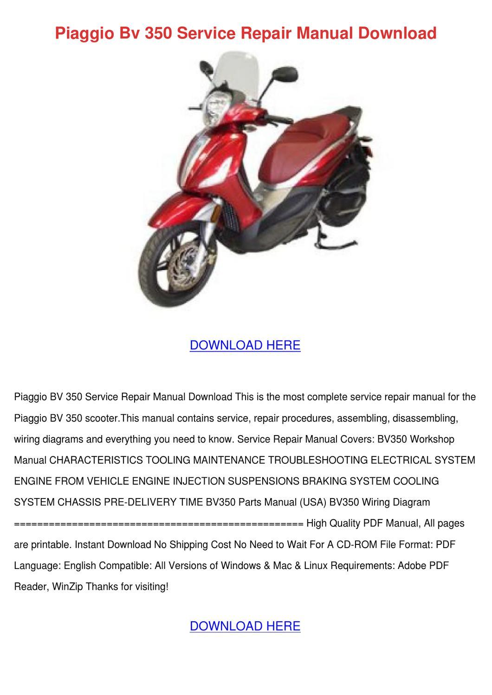 Piaggio Bv 350 Service Repair Manual Download By Doncohn