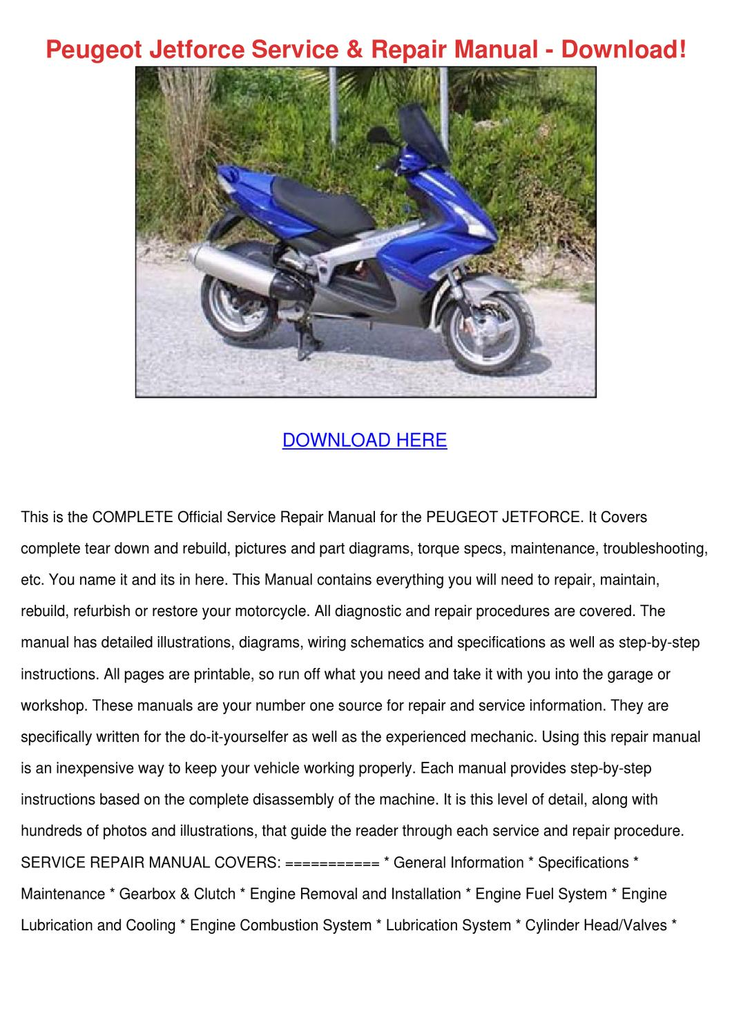 peugeot jetforce service repair manual downlo by jonashargis - issuu  issuu