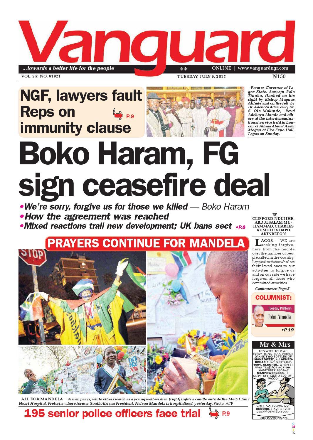Boko Haram Fg Sign Ceasefire Deal By Vanguard Media Limited Issuu Tcash Ramadhan Milo Malaysia Activ Go