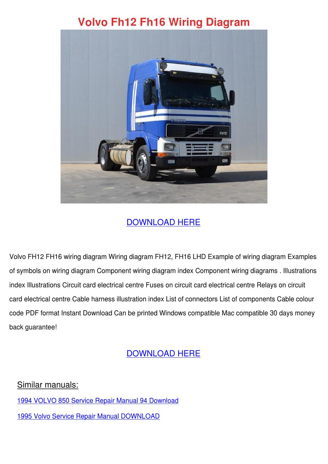 Volvo Fh12 Fh16 Wiring Diagram by RomaRainey - issuu | Volvo Fh12 Wiring Diagram Pdf |  | Issuu