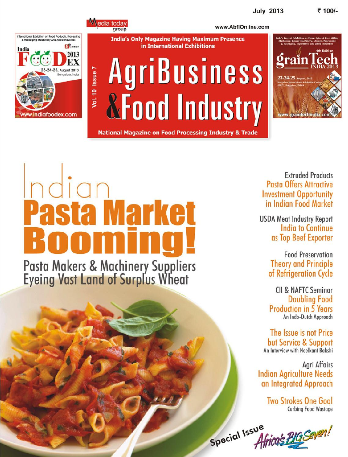 AgriBusiness & Food Industry- July 2013 by Media Today Pvt